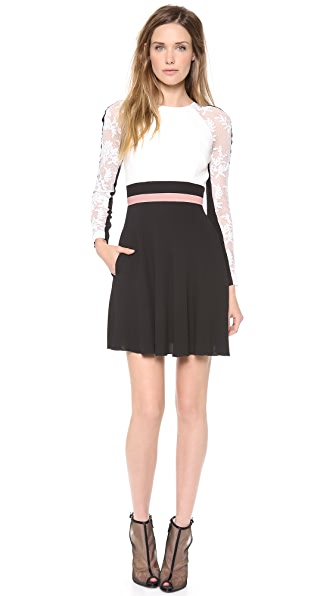 Alex Perry Yvonne Mini Colorblock Lace Dress