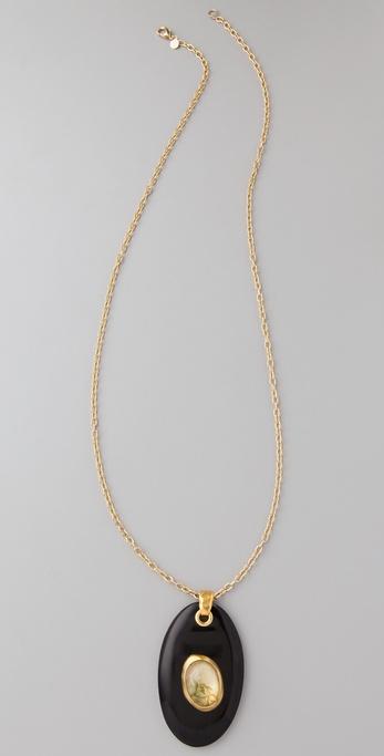 Alexis Bittar Spring Fern Gold Large Horn Pendant