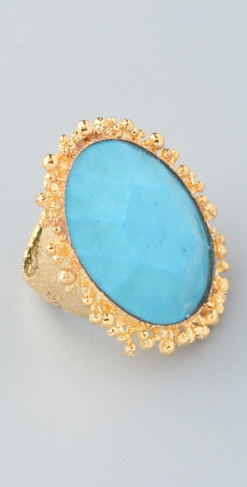 Alexis Bittar Calder Gold Oval Turquoise Ring
