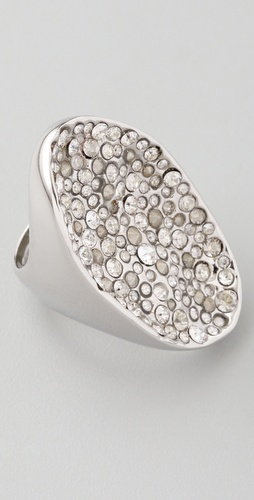 Alexis Bittar Crystal Encrusted Rhodium Pool Ring