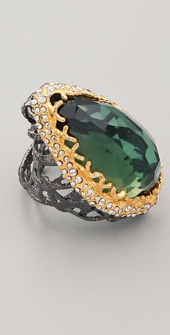 Alexis Bittar Gunmetal Stone Woven Ring