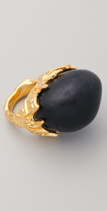 Alexis Bittar Gold Baroque Black Coal Resin Ring
