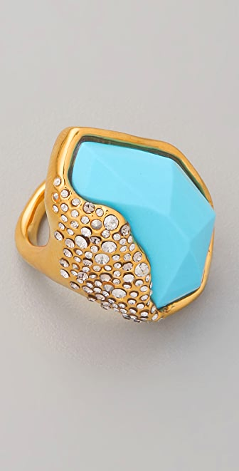 Alexis Bittar Gold and Turquoise Ring