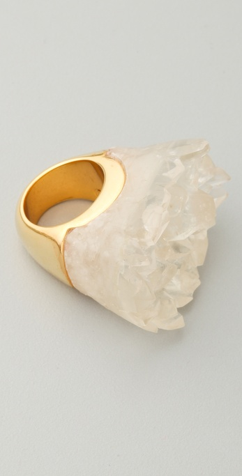 Alexis Bittar Liquid Gold White Resin Quartz Ring
