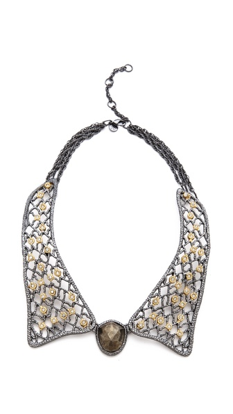 Alexis Bittar Lace Collar Pyrite Necklace