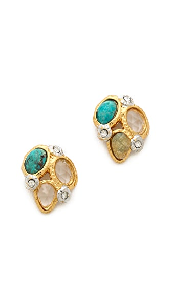 Alexis Bittar Mosaic Kiwi Cluster Stud Earrings