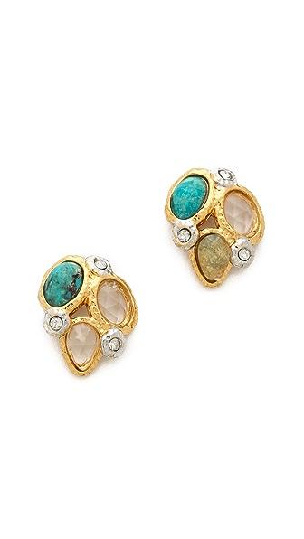 Alexis Bittar Mosaic Kiwi Cluster Stud Earrings