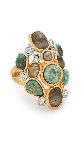 Alexis Bittar Mosaic Kiwi Cluster Ring