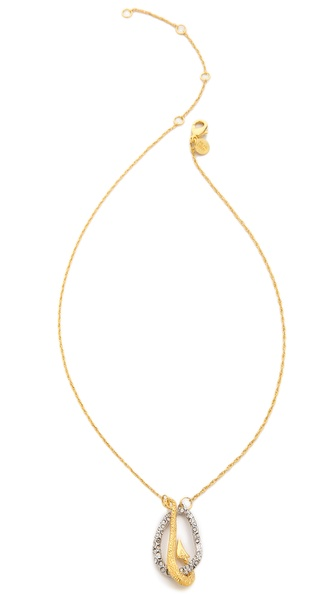 Alexis Bittar Crystal Encrusted Fish Hook Necklace