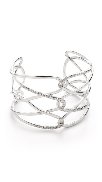 Alexis Bittar Barbed Scattered Pave Cuff Bracelet
