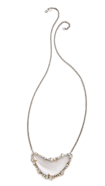 Alexis Bittar Jagged Edge Crystal Crescent Pendant Necklace