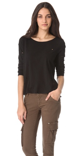 Shop AIR by alice + olivia Distressed Long Sleeve Tee and AIR by alice + olivia online - Apparel,Womens,Tops,Tee, online Store