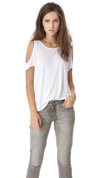 Air By Alice + Olivia Open Shoulder Tee - White at Shopbop / East Dane