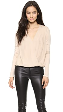 AIR by alice + olivia Cross Front Gathered Hem Top