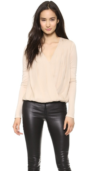 Air By Alice + Olivia Cross Front Gathered Hem Top - Nude at Shopbop / East Dane