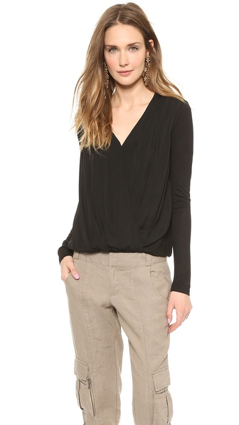 Air By Alice + Olivia Cross Front Gathered Hem Top - Black/Black at Shopbop / East Dane