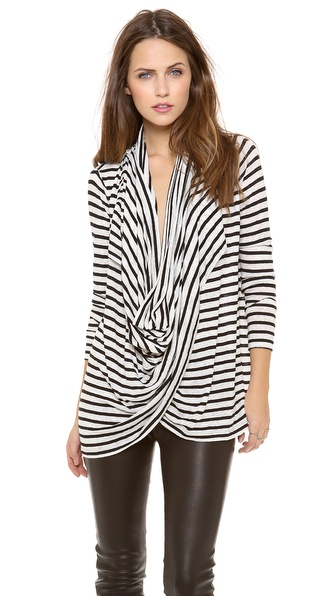 Air By Alice + Olivia New Draped Wrap Cardigan - White/Black Stripe at Shopbop / East Dane