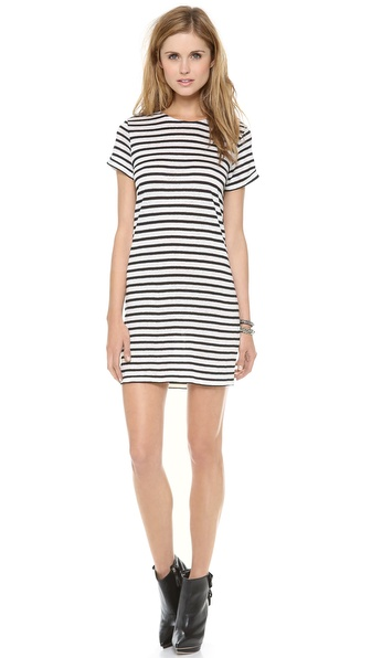 Air By Alice + Olivia Crew Neck Roll Sleeve Dress - White/Black Stripe at Shopbop / East Dane