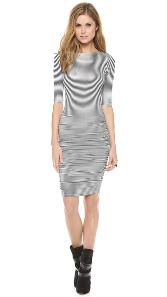 Air By Alice + Olivia Half Sleeve Ruched Dress - Grey/White at Shopbop / East Dane