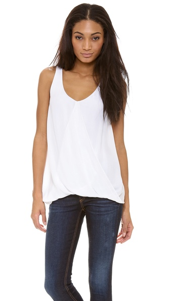 Air By Alice + Olivia Overlap Drape Tank - White at Shopbop / East Dane