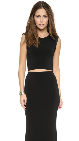 Air By Alice + Olivia Leather Shoulder Crop Top - Black at Shopbop / East Dane