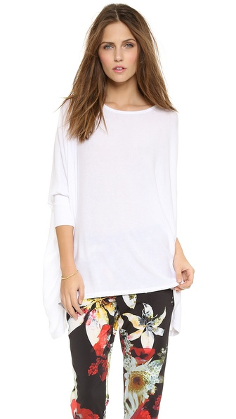 Air By Alice + Olivia Boat Neck Rectangle Tee - White at Shopbop / East Dane