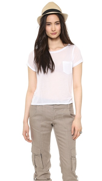 Air By Alice + Olivia Rolled Sleeve Front Pocket Tee - White at Shopbop / East Dane