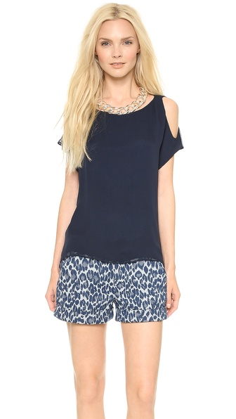 Air By Alice + Olivia Knot Shoulder Washed Top - Navy at Shopbop / East Dane