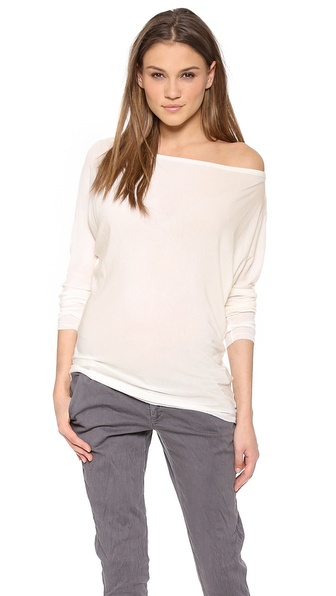 Air By Alice + Olivia Boat Neck Slouchy Tee - Ivory at Shopbop / East Dane