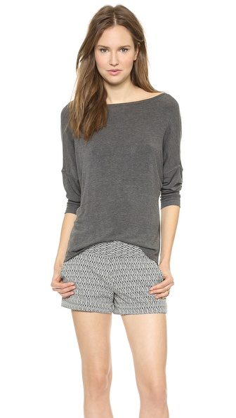 AIR by alice + olivia Long Sleeve Top with Leather Trim