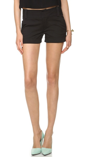 Alice + Olivia Cady Cuff Shorts - Black at Shopbop / East Dane