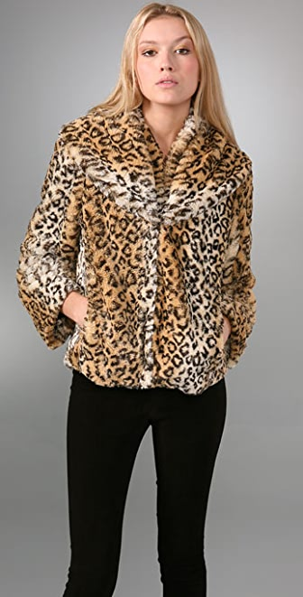 alice + olivia Shawl Collar Faux Fur Jacket