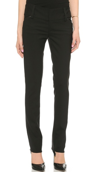 Alice + Olivia Olivia Slim Leg Pants With Wide Waistband - Black at Shopbop / East Dane
