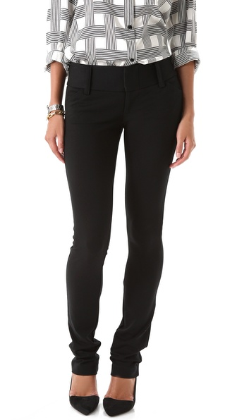 alice + olivia Olivia Skinny Pants with Wide Waistband