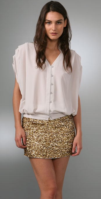 alice + olivia Gabriela Banded Collar Blouse