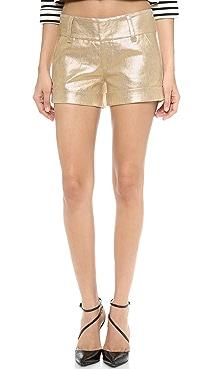 alice + olivia Cady Cuff Metallic Short