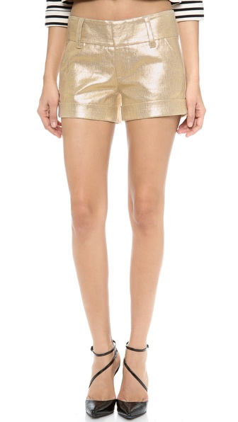 alice + olivia Cady Cuff Metallic Shorts