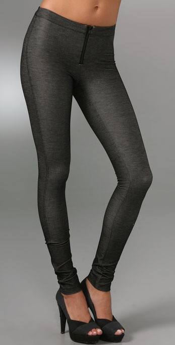 alice + olivia Denim Style Leggings with Exposed Zip