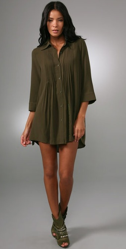 alice + olivia Mallory Pintuck Shirtdress