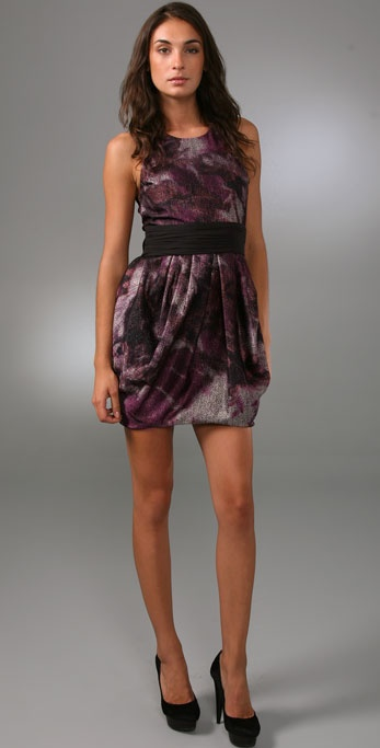 alice + olivia Marie Tulip Dress with Bow Belt