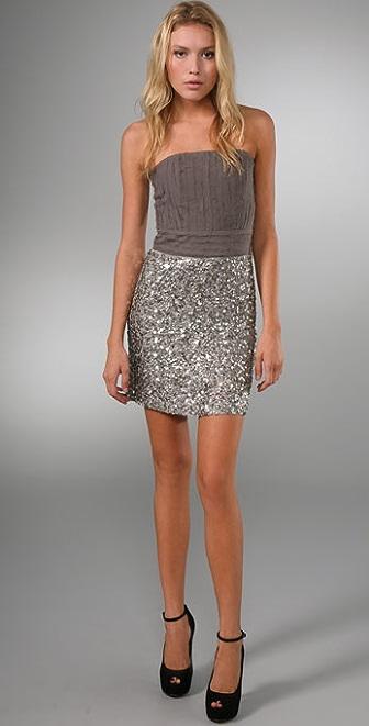 alice + olivia Aubrey Bustier Dress with Sequin Skirt