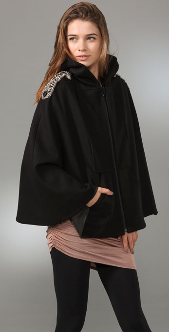 alice + olivia Emory Cape with Embellished Shoulders