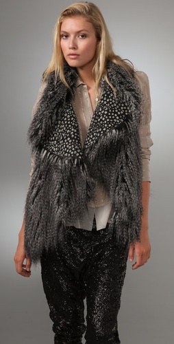 alice + olivia Chris Faux Fur Vest