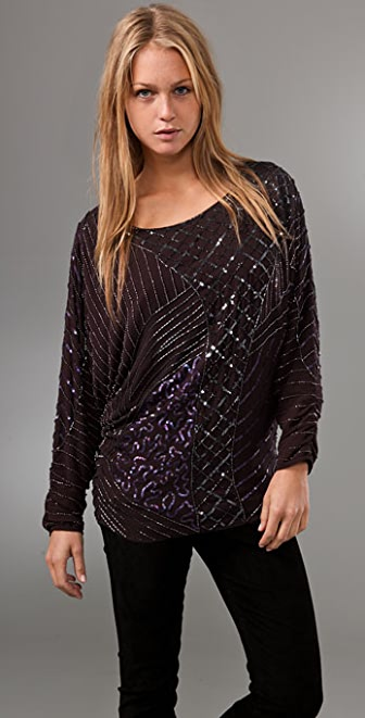 alice + olivia Ilan Embellished Top