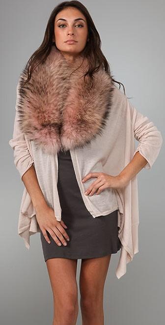 alice + olivia Izzy Cascade Cardigan with Fur Collar