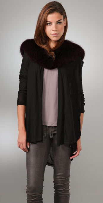 alice + olivia Cascade Cardigan with Fox Fur Collar
