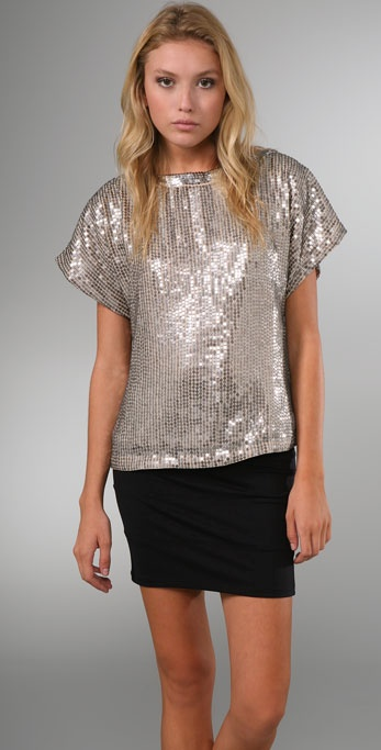 alice + olivia Keren Oversized Sequin Top