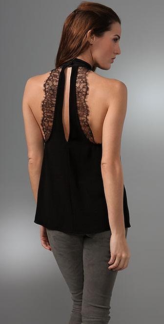 alice + olivia Lace Back Halter Top