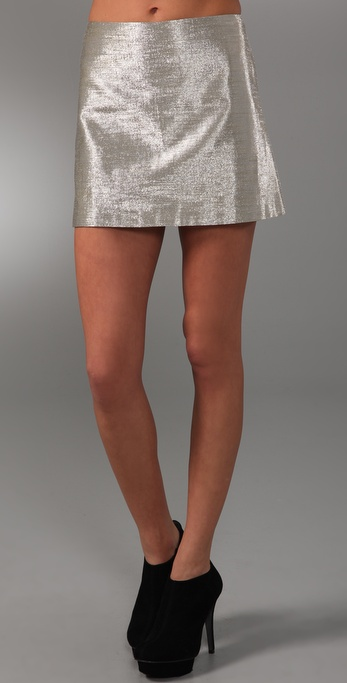 alice + olivia Mayra Metallic Skirt