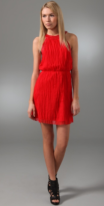 alice + olivia Patti Pleated Dress with Leather Trim